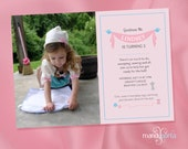 Pink Cinderella Inspired DIY Digital Printable Birthday Invitation Sewing Theme with No Photo