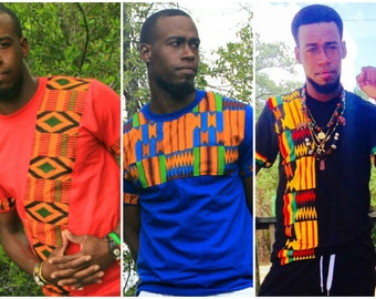 NEW African Print - Men  Kente TShirt Design, Africa Print Tee Shirt, Kente Shirt, Men TShirt Design, African Print Shirt, Ghana Kente Shirt