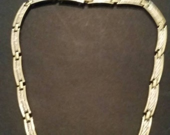 Vintage Gold and Silver Tile  Necklace Costume Jewelry