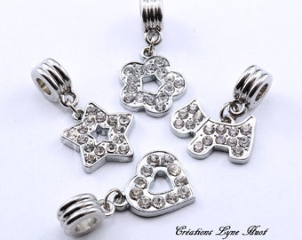 Charms of various shapes 4 models available with Rhinestone, !