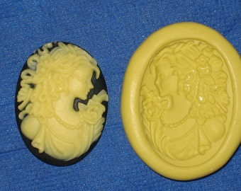 Woman Cameo Flexible Push Mold Candy Food Safe Silicone #370 Bookscrapping