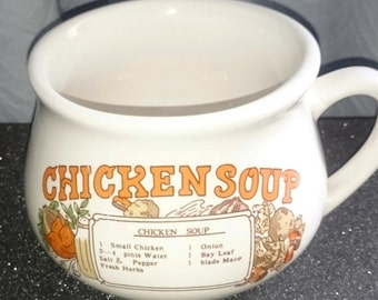VINTAGE SOUP MUG Chicken Soup Recipe Mug Pottery Mug with Handle - Capacity 16oz #1