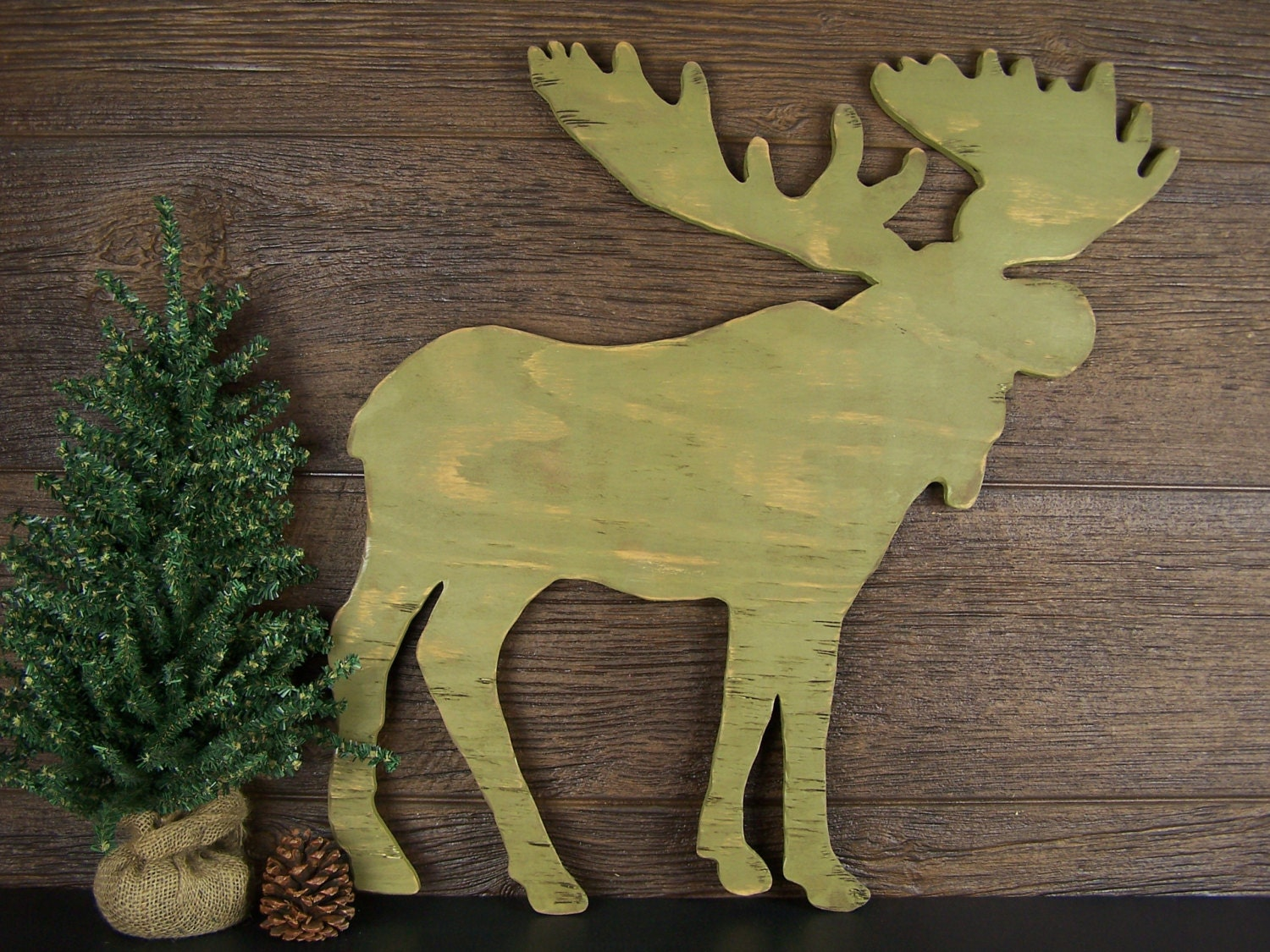 wooden moose cabin wall decor moose hunting decor moose sign