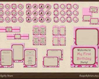 Pink Cowgirl Birthday Party Pack / Pink Farm Barnyard / Printable Party Package PDF / Editable DIY / Instant Download