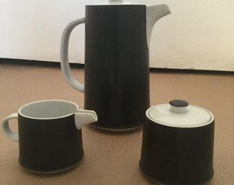 Vintage Mid Century Contempo Frost Coffee Pot Creamer Sugar Set Ceramic