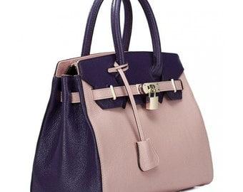 Real Genuine Leather Pink Nucelle Handbag