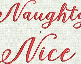 Naught Nice Christmas Fancy Script  Machine Embroidery Font  Designs Holiday  4 files PES Format Instant Download