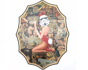 Star Wars Pin-Up Wall Art- Comic Book Collage - Geek Gift - Vintage Wall Decor- Wood Wall Art- Wood Wall Decor
