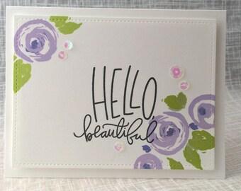 Hello Beautiful / Notecard / Folded Notecard / Handstamped