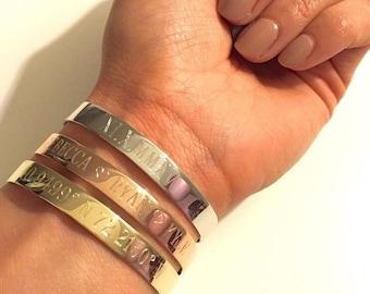 Engraved large cuff bracelet