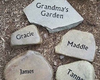 Grandmas Garden Stone with all of her grandkids