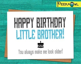 Instant Download Funny Birthday Card - Little Brother Birthday Funny Card - Printable funny birthday card for brother - Digital files only!!