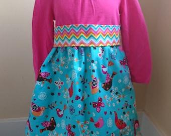 Bird Dress - Long Sleeved Pink and Blue Bird Twirly T-shirt Party Dress - Size 3T