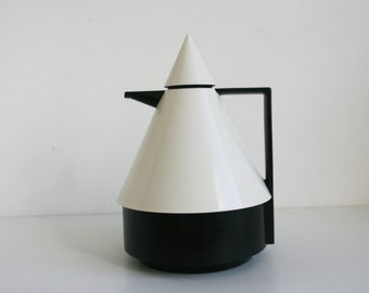 Emsa RIO Conical Thermos Black and White Geometric Postmodern form West Germany