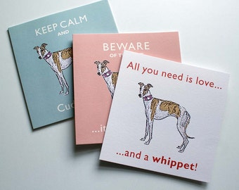 Whippet vintage Style Greetings Card