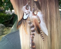 Feather jewellery - hair feather decorations - feather hair piece - pixie fairy elfin magic accessorie - Native American - natural feathers