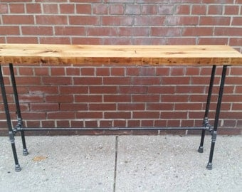 Rustic reclaimed wood pipe console table || Reclaimed wood sofa table || rustic reclaimed entrance table || industrial chic desk
