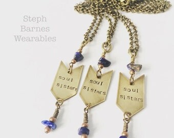 3 'soul sisters' necklaces in bronze with lapis detail