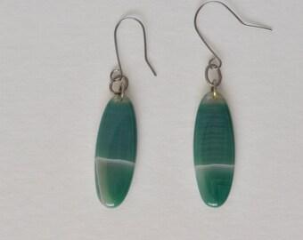 Vintage Natural Green Botswana Agate Gemstone Hook Earrings