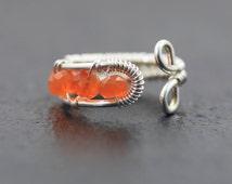 Sterling Silver & AAA Grade Carnelian Adjustable Ring. Woven Wire Wrapped Jewellery. Orange Semi Precious Gemstone. Beaded Jewelry. Artisan