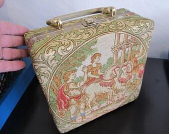 Vintage Italian Brocade Box Purse Plastic Handle