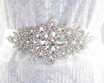 Rhinestone Bridal Ribbon Sash / Double Faced Ribbon Sash / Bridal Sash / Bridal  / Embellished Sash / Wedding Belt / Bridal Belt