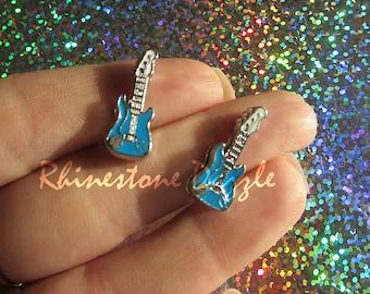Blue Guitar Slide Charms, fits on 8mm Bracelets, 8mm Slide Charms, slider charms, personalized jewelry, music slide charm, Guitar Charm