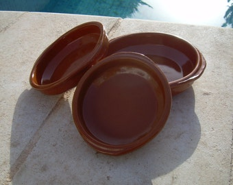 SPANISH TAPAS PLATES  , Spanish made , set of 3, Dish , Ramekin , Snack bowl, Brown traditional dishes  from Spain