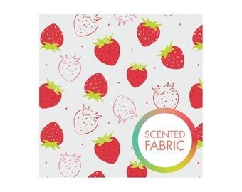 Strawberry scented strawberry print fabric from Camelot designs studio, strawberry printed fabric by the yard, scented fabric by the yard