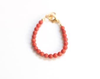 Orange Bamboo Coral Bracelet, girls 4mm bead bracelet