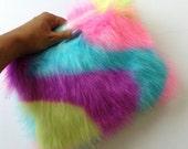 Multi Colour Lux Faux Fur Clutch Purse