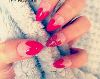 FALSE NAILS - Glitter, Pink Heart Tip - Stick On - The Holy Nail UK
