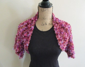 Fluffy Purple Knitted Bolero