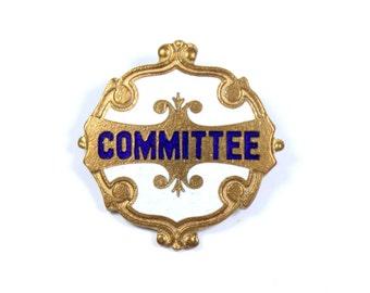 Vintage 1950s committee pin, goldtone badge, blue and white enamel school badge, school uniform pin, dark blue enamel