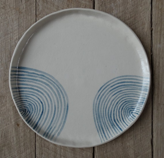 handmade ceramic dinner plate waves australian made