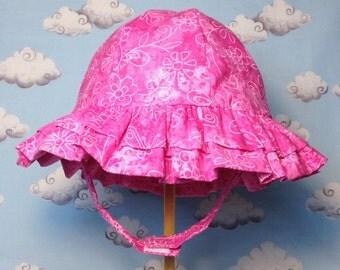 Infant Girl Ruffled Butterfly Sun Hat
