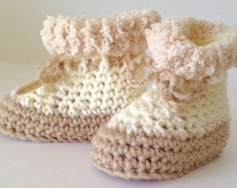 Crochet Cream and Beige/Caramel Baby Uggs/Boots - Fits 3-6 mths months