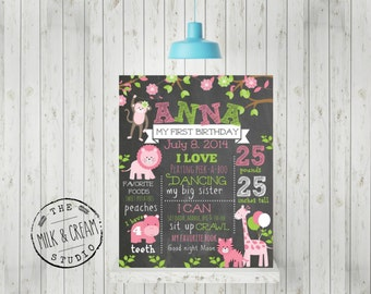 First Birthday Chalkboard Girl Jungle Theme-  Poster Sign, Pink Jungle Animal Theme Printable File