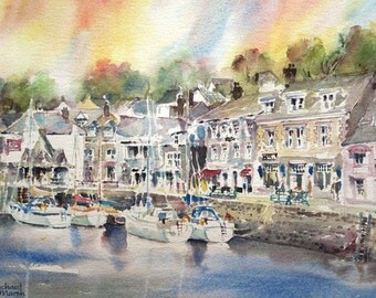 CORNISH PRINT, Cornwall Print, Valentines Gift, Padstow Harbour, Mounted Print, Harbour Painting, Cornwall Landscape, Cornish Harbour, Boats