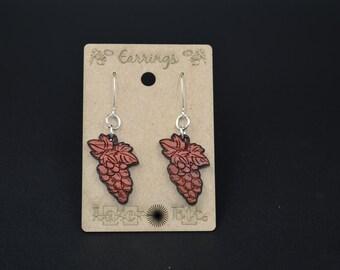 Wine Grape Bunch Padauk Earrings