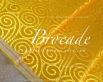 Gold Brocade Fabric. Yellow jacquard Oriental Fabric