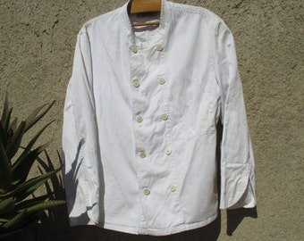 60s authentic French chef's jacket, kitchen workwear by Molinel, XXL large size US 20, UK 24