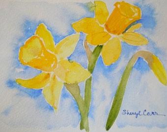 Yellow Daffodils Watercolor Notecard