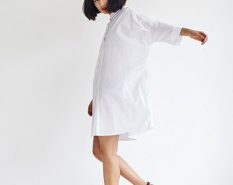 White Shirt Dress,Cotton Long Shirt,Loose Fit Shirt,3/4 Sleeve with Butterfly