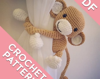 Monkey curtain tie back, tieback, crochet pattern PDF instant download PATTERN