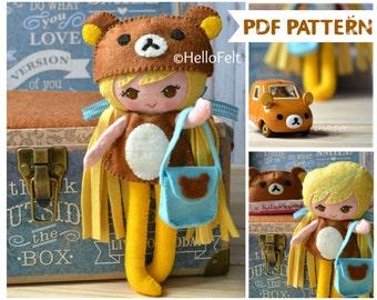 PDF PATTERN: Sweet Rilakkuma Girl. Felt Dress-up Doll Rilakkuma Sewing PDF Pattern, Softie Pattern.