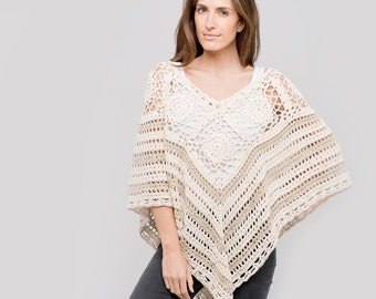 Cotton Crochet Poncho in Natural & Dune