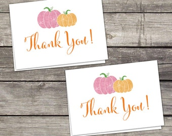 YOU PRINT Pink Pumpkin Folded Thank You Cards - Baby Shower Thank You Cards - 4x6 - Instant Download Baby-247