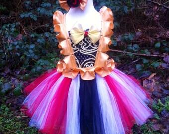 circus costume/circus ringmaster themed party/black red white tutu dress and headband SET
