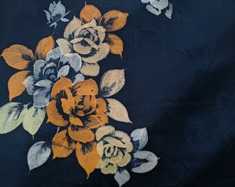 Vintage Japanese Silk Kimono Fabric Roses on Blue
